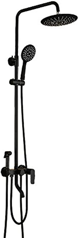 YLG Duschsystem, Duschset, Brausen- Und Duschsysteme, ABS Duschkpfe Und Handbrausen, Mit Spritzpistole, Hhenverstellbar, Schwarz