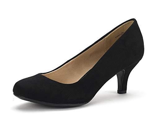 DREAM PAIRS Women's Luvly Black Suede Bridal Wedding Low Heel Pump Shoes - 9.5 M US