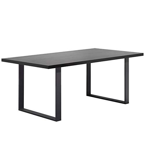 i-flair Esszimmertisch Macon 160x90 cm Kufentisch Holztisch Esstisch Kufengestell Tisch mit Tischplatte und Kufen - alle Größen und Farben (Schwarz + Schwarz)