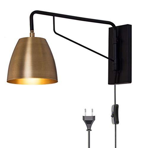 OOWOKS E27 Lámpara de Pared de latón Vintage Lámpara de Noche de Brazo Largo Ajustable Apliques de Dormitorio con Interruptor Lámpara de Lectura de Pared de Sala de Estar Pantalla giratoria de Metal