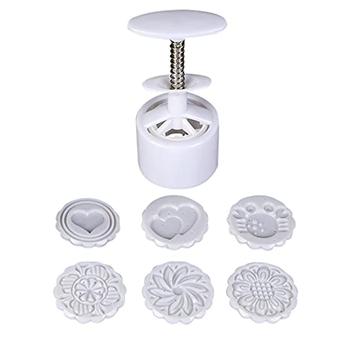 sdfsa - Stampi per torta a forma di luna con fiori di luna, forma rotonda, a pressione, con 6 stampini per biscotti, decorazione fai da te