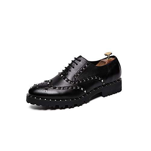 XueQing Pan Men's Business Oxford Casual Persoonlijkheid Rivet dikke bodem met PU Leather Brogue Schoenen (Color : Black, Size : 42 EU)
