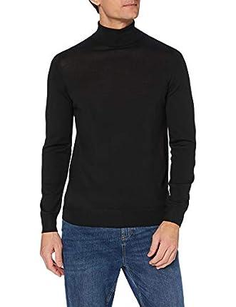 Marca Amazon - MERAKI suéter Hombre, Negro (Black), S, Label: S