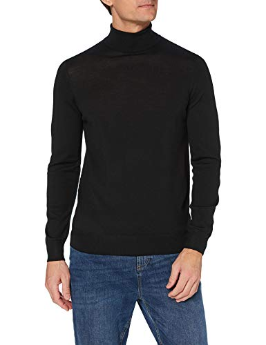 Marca Amazon - MERAKI suéter Hombre, Negro (Black), L, Label: L