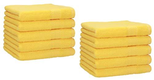 Betz Lot de 10 Serviettes d'invités Taille 30x50 cm 100% Coton Premium Color Jaune