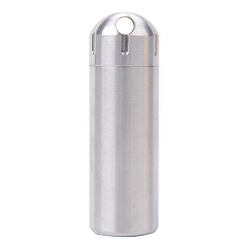 Chaveiro Milisten Pillbox à prova d'água, porta-comprimidos, caixa de comprimidos de metal para viagens ao ar livre, acampamento (prata)