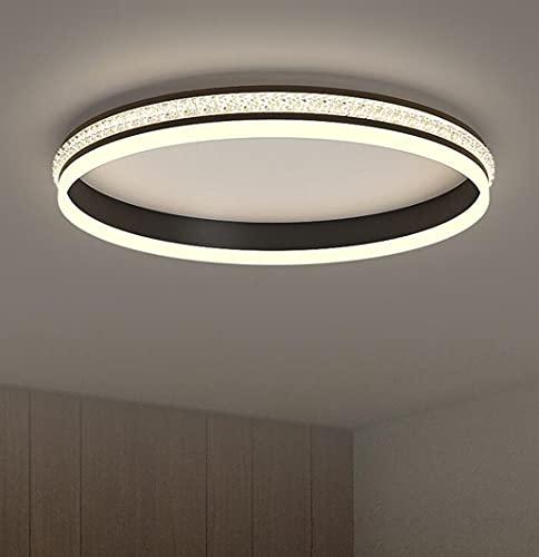 Lámpara de plafón minimalista LED de cristal de metal vintage, lámpara de araña con control remoto para sala de estar, oficina, cocina, lámpara de techo regulable con pantalla negra redonda, 50cm