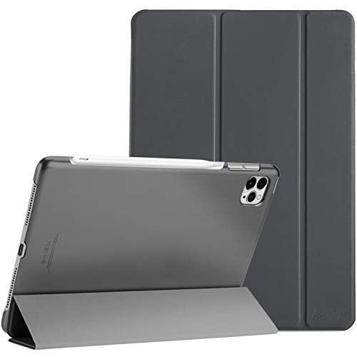 ProCase iPad Pro 12.9 Case 4th Generation 2020 2018, [Support Apple Pencil 2 Charging] Slim Stand Hard Back Shell Smart Cover for iPad Pro 12.9' 4th Gen 2020 / iPad Pro 12.9' 3rd Gen 2018 –Grey