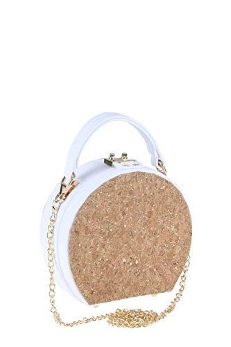 collezione alessandro Elegante runde Tasche Naturale in weiß mit gold schimmerndem Kork-Dekor 18cm x 19cm x 9cm