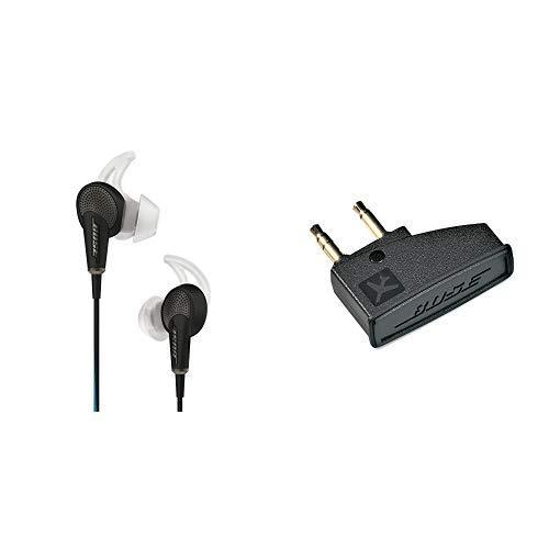 Bose QuietComfort 20 Cuffie Acoustic Noise Cancelling per dispositivi Apple, Nero + Bose Adattatore Aereo per Cuffie Bose QuietComfort3