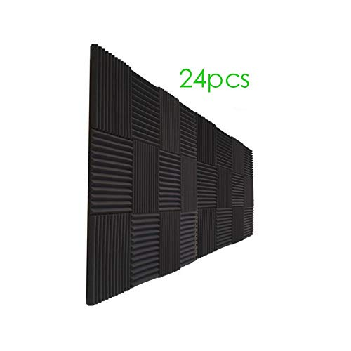 24 Pack Acoustic Panels Soundproof Studio Foam for Walls Sound Absorbing Panels Sound Insulation Panels Wedge for Home Studio Ceiling, 1' X 12' X 12',(24pcs, black)