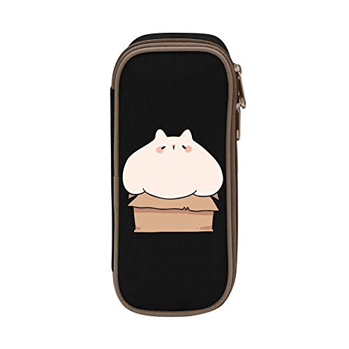 XCNGG Aufbewahrungstasche für Schreibwarenbeutel Chubby Cat in a Box Pen Bag Large Capacity Student Stationery Bag Pencil Case Dual Zippers
