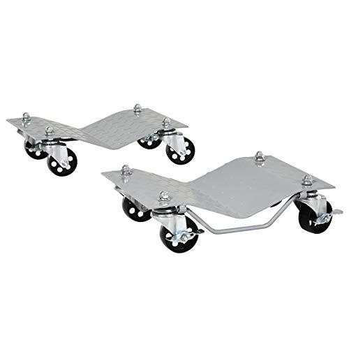 DURHAND Rangierheber 2 Stücke Rangierhilfe Reifenwechsel Wagenheber mit 4 Rollen für Auto PKW Grau 40,5L x 30B x 13,5H cm
