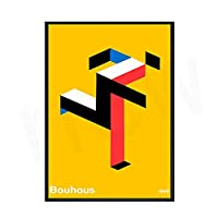 バウハウス展覧会のポスターや版画美術印刷の抽象幾何学の壁画ミニマフレームレスキャンバス絵画 2番 50x75cm