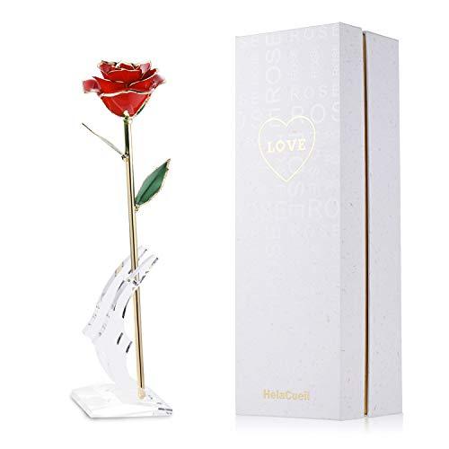 HelaCueil 24K Gold Rose Handgemachte Rose mit Geschenkbox - Geschenke für Frauen Valentinstag/Muttertag/Geburtstag/Hochzeitstag/Weihnachten (Rot)