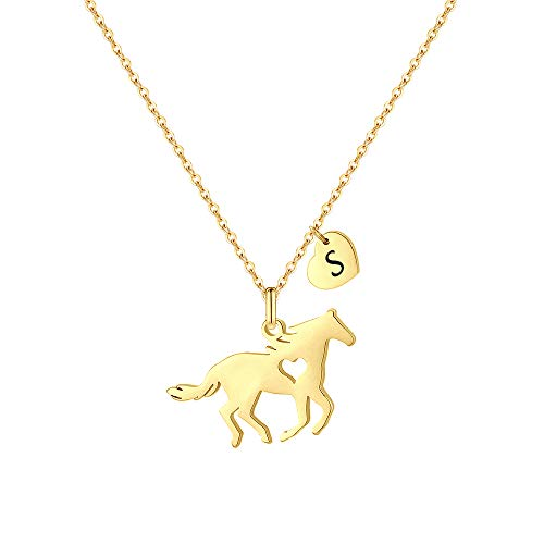 MONOOC Girls Necklace with Horse, Horse Gifts for Horse Lovers Horse Jewelry for Girls Horse Necklace Horse Riding Gifts for Girls Gold Heart Initial S Necklace Cute Horse Jewelry for Girls