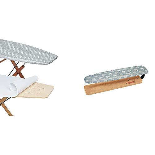 Foppapedretti Copertina Copertura ASSE da Stiro con Mollettone di Ricambio, Alluminio, 103 x 52 cm, 8 unità & Lo Stiramaniche, Naturale