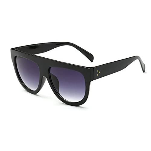 L&L Women Shadow Shield Flat Top Oversized Designer Inspired Celebrity Sunglasses (Black)