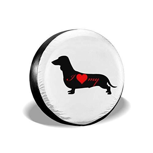 Enoqunt Ik hou van mijn tekkel wijn hond silhouet reservebandafdekking voor voordelige RV SUV en vele voertuigen