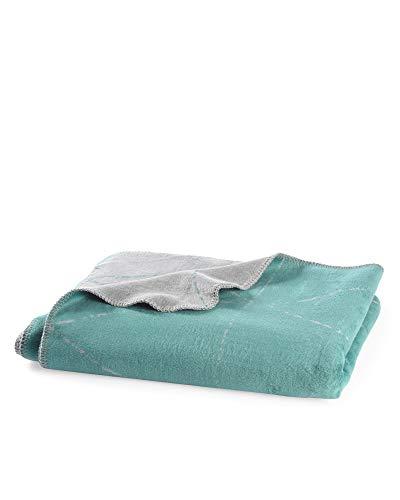 myHomery Kuscheldecke aus Baumwolle - Decke fürs Sofa mit Kettelrand - Wolldecke warm & kuschelig - Sofadecke XL eleganten Stripes Petrol | 150x200 cm
