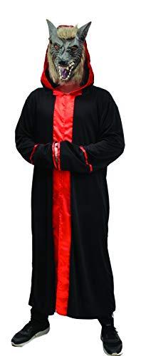 Ciao- Setta del Diavolo Horror Wolf Costume Adulto (Taglia Unica) con Maschera in Vinile, Colore Nero,Rosso, 62205