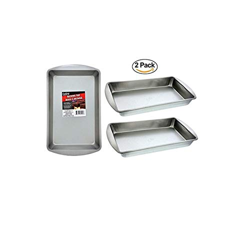 Collective Bargain 2 Brownie & Biscuit Rectangle Baking Pans. Stainless Steel Oven Pan. Dishwasher Safe