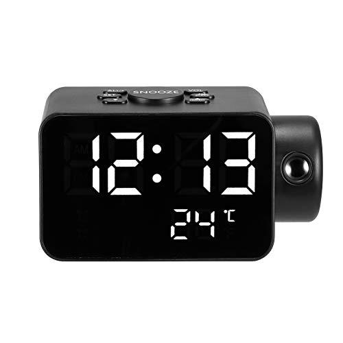 SUNASQ Reloj Despertador de Proyección, Reloj de Proyección, Reloj Despertador Digital Led con Pantalla de Hora Y Temperatura, Radio FM, Función de Banco de Energía, para Dormitorio Y Oficina