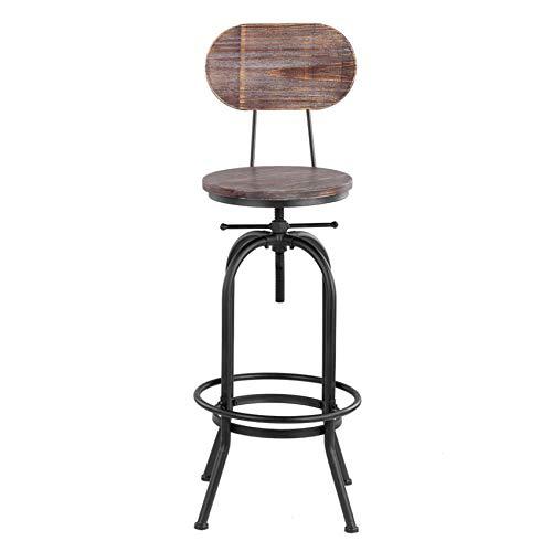 IKAYAA Silla de Comedor de Cocina Silla de Comedor giratoria Ajustable en Altura de Taburete de Bar con Respaldo