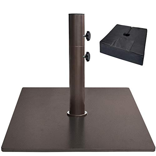 EliteShade Up to 160 lbs Square Umbrella Base Steel Plate Stand Market Patio Outdoor Heavy Duty Umbrella Holder, Bonus 18.5' Square Weight Sand Bag (Sand is not Included), Bronze