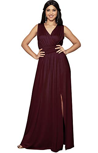 KOH KOH Womens Long Bridesmaid Wedding Guest Cocktail Party Sexy Sleeveless Summer V-Neck Evening Slit Day Full Floor Length Gown Gowns Maxi Dress Dresses, Maroon Wine Red L 12-14