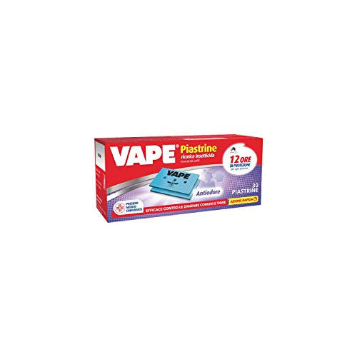 Vape Piastrine Antiodore Protezione Zanzare con Neutralizzatore Odori di Umidità e Chiuso, Confezione da 30 Pezzi