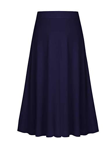 Arshiner Girls' Plain High Waist Ankle Length Skirt Girls CuteMaxi Skirts Navy Blue