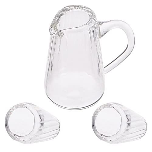TOYANDONA Juego de 3 Tazas de Té en Miniatura Casa de Muñecas Taza de Té de Cristal Juego de Café Servicio de Platos Casa en Miniatura Accesorios para Casa de Muñecas