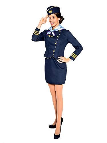 Maskworld Hochwertiges Flugbegleiterin Kostüm mit Flieger Emblem und goldenen Säumen perfekt für Fasching Karneval Mottopartys & Halloween - Stewardess Verkleidung Uniform Anzug - Größe S