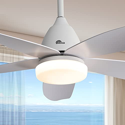 LED Ceiling Fan Indoor with Lights DC Motor Modern Ceiling Fan with Remote Control Sofucor 47-Inch Flush Mount Ceiling Fan 5 Reversible ABS Blades Glass Lampshade Noiseless Reversible Motor Dumb White