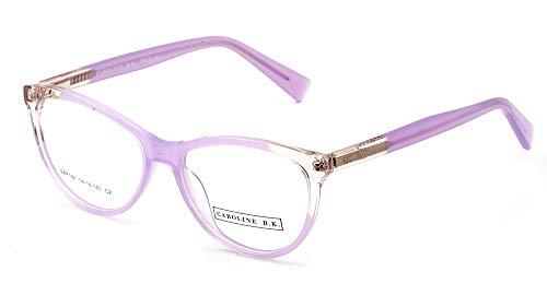 CAROLINE B.K. Montura de gafas sin graduar con lentes transparentes sin prescripción. Lente tamaño MEDIANO (49 - 54 mm) (M, Morado Claro)