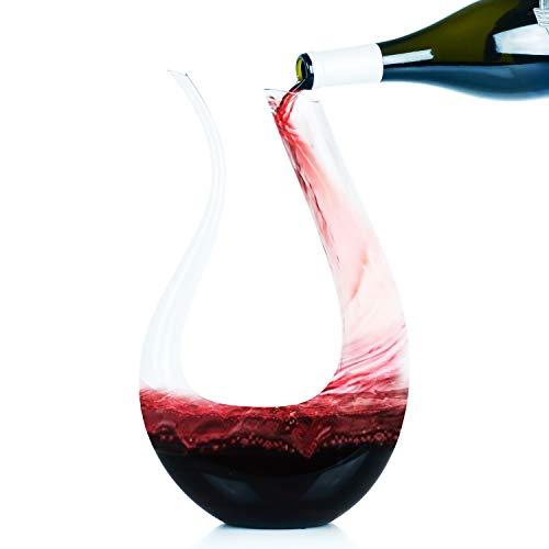 Galashield Decantador de vino 100% soplado a mano, sin plomo, cristal tinto y aireador en forma de U