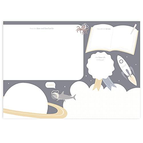 Mintkind Vade de escritorio para niños, accesorio de escritorio para niños, bloc de papel con 25 páginas, diseño espacial
