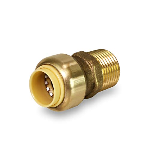 Everflow Supplies Pushlock UPMC1 1 Inch Long Push X Male Adapter for Push-Fit Fittings, Made with Lead Free DZR Forged Brass, Connects PEX, CPVC, and Copper, Pre-Lubricated Quick Installation