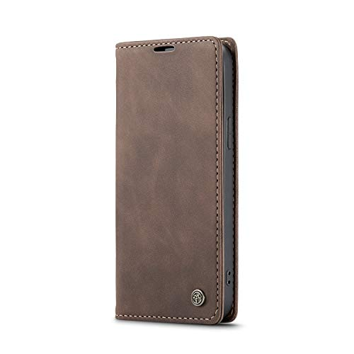 Wallet Leather Case for iPhone 12,Coffee Leather Full Protection with Cash Slot 6.1inch Kickstand Retro 2 Card Slot (ID Card,Credit Card) Flip Shell,Accurate Cutouts Gift Girls Boys Unisex