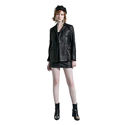 Damenanzug Lederjacke, Zipper Moto Biker Coat, Taille schlankes Design 100% Lederjacke, Größe S (S-3XL),M