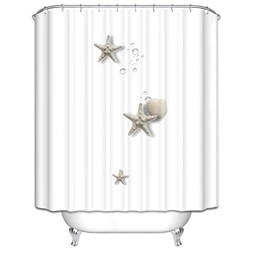 Bishilin Polyester-Stoff Duschvorhang Waschbar Seesterne Anti Schimmel Duschvorhang 90x180