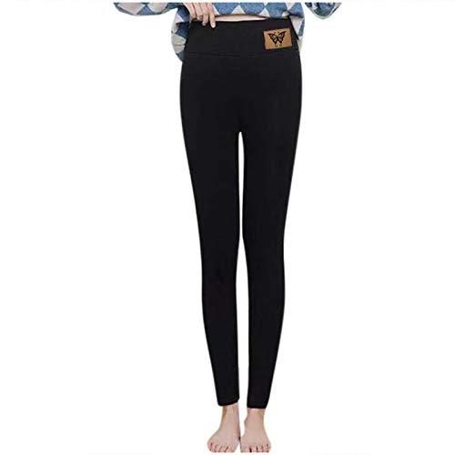 SmallYin Pantalones TéRmicos Gruesos de Terciopelo para Mujer, Leggings de Terciopelo de Cordero de Mariposa, Leggings de Cintura Alta de OtoñO e Invierno, Pantalones TéRmicos Suaves (Negro)