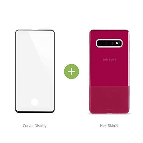 Artwizz NextSkin + CurvedDisplay Set geeignet für [Galaxy S10] - Ultra-dünne, elastische Schutzhülle + vollflächigen Displayschutz aus Panzerglas - Berry