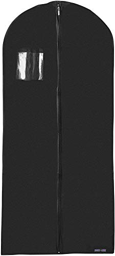 Bags for Less New Breathable 54 inch Suit and Dress Black Garment Bag Cover Hanging Carrier for Storage and Travel