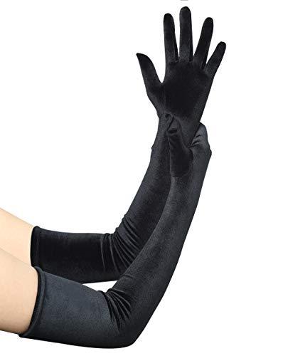 Coucoland Damen Handschuhe Satin Classic Opera Fest Party Audrey Hepburn Handschuhe 1920s Handschuhe Damen Lang Kurz Elastisch (Velvet Schwarz/55cm)
