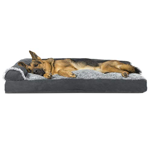 Furhaven Pillow Pet Bed for Dogs and Cats - L Chaise Sofa Two-Tone Plush Fur and Suede Couch Dog Bed with Removable Washable Cover, Stone Gray, Jumbo (X-Large)