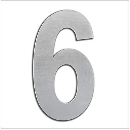 HERRAJES EVI Numero de Casa Exterior, Portal o Garaje, 16 cm , Acero Inoxidable AISI 304, Instalación Adhesiva (Numero 6), 160mm