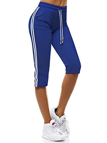 OZONEE Damen Sporthose Kurz Shorts Sweatpants Trainingshose Kurze Hose Bermuda Sportshorts Jogginghose Freizeithose Sweatshorts Damenhose Sport Capri Caprihose JS/1021/D9 BLAU M