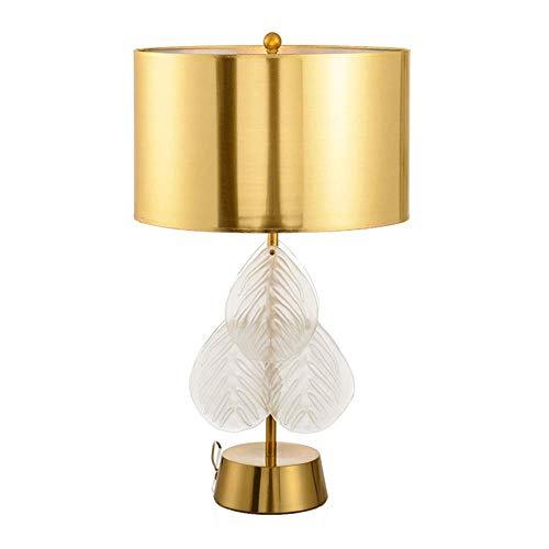Yilingqi-1 eenvoudige blad kristallen tafel lamp designer brons smeedijzeren model kamer kristallen blad-lamp E27 lichtbron woonbouw leren leeslamp